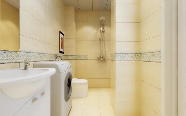 不仅要满足基本的卫生间功能,也要将洗衣机、拖布池都放在卫生间,还有加装的热水器,保持卫生间的整洁性。亮点:米黄色带有大理石纹理的墙地砖以及一圈素雅的白色腰线,使得整个空间跳动起来。