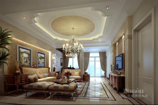 """客厅是使用频率较高的区域,也是客人对室内空间的""""第一印象"""",因此作为整栋住宅的重点部分来设计,以突出主人的身份和品位。"""