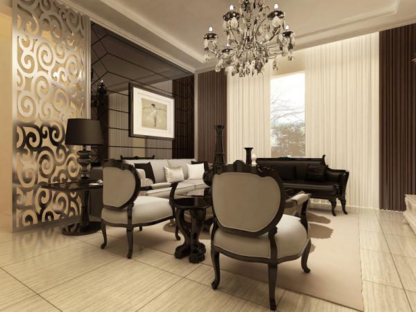 旭辉御府-欧式风格-三居室-沙发背景墙装修效果图