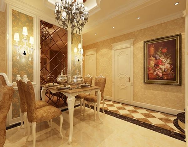 保利拉菲公馆-欧式风格-三居室-餐厅装修效果图