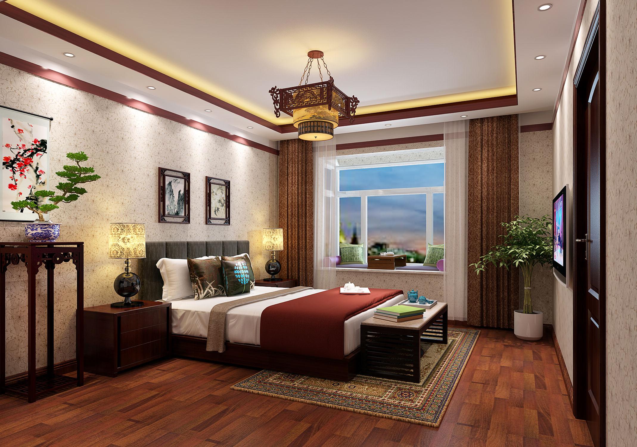 为主人房,整体做的简单清爽,又有中式的元素,以暖色为