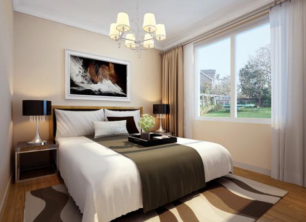 主卧是主人休息的主要空间,一色的床头背景,简单的挂画,使整个空间的设计融入了舒适安逸的双重质感