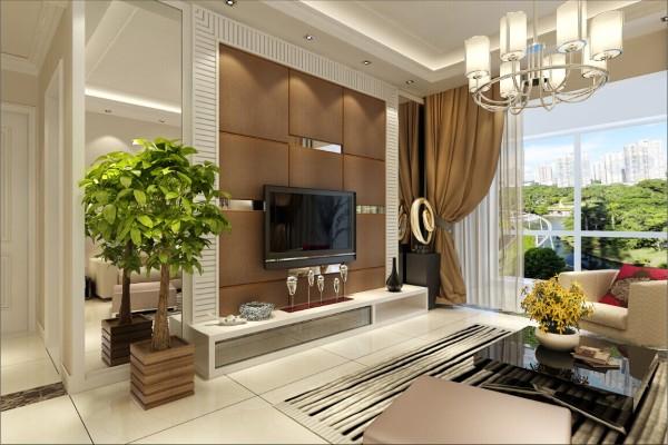客厅电视背景墙:采用棕色硬包为主,金属玻璃镜子相间其中,使整个客厅