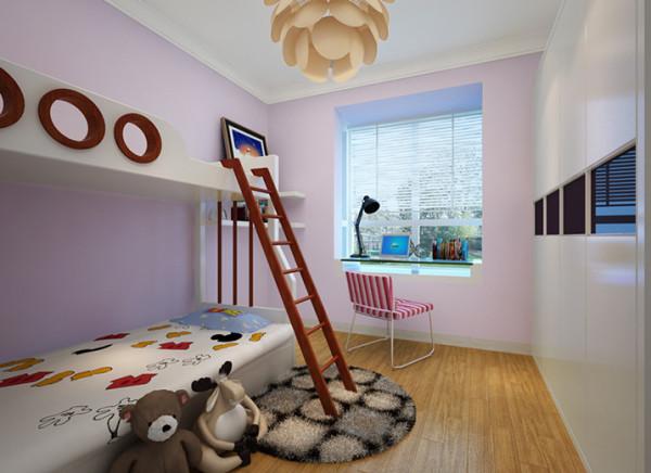 在家具的选择上采用简单的造型;墙面的淡粉色和家居的陈设形成对比,使整个空间色彩丰富,对儿童的智力开发以及对色彩的认知起到一定的积极作用。整个设计过程中体现出温馨典雅,给孩子一个遐想的空间。