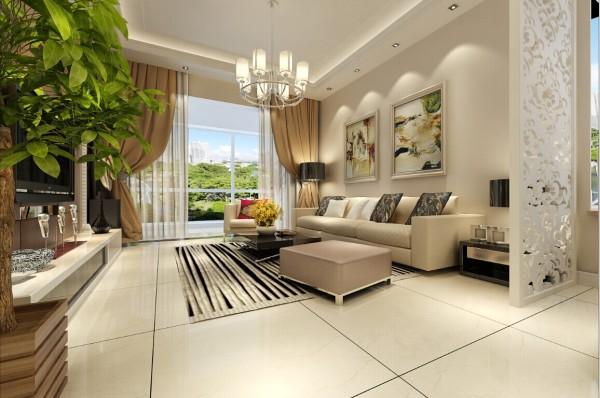 客厅沙发背景墙简单大方,乳白色的木纹隔断,使客厅更有立体感。