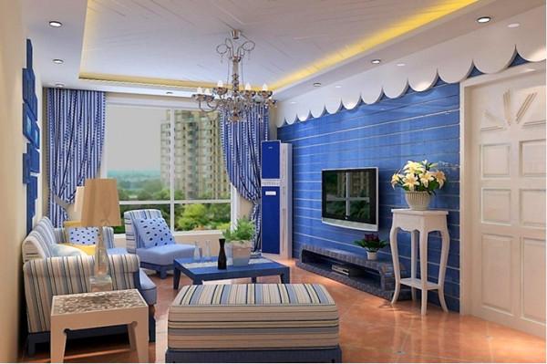 客厅顶面采用双层异形吊顶,45度斜角线石膏板搂槽效果,是顶面更具层次感。电视墙采用木板擦色做旧处理,海蓝色漆面,使整个客厅海面般色彩的冲击力。