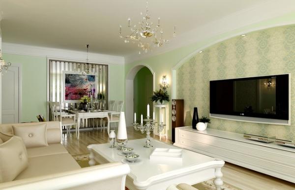 电视背景墙加上花色壁纸以及绿色盆栽的点缀,极富生命力的代表把让整个家居生活装扮的更有清新美感。享受着悠然自得的安逸生活。