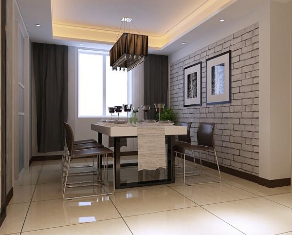 """餐廳""""回""""字型吊頂與客廳相呼應,形象墻以石膏板造型與"""