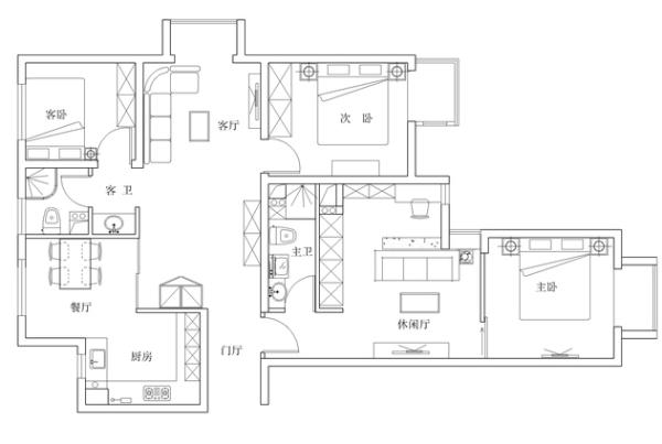 现代简约风格居室户型图