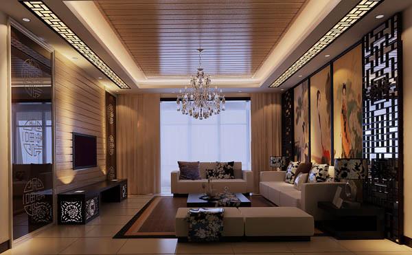 效果说明:整个空间为暖色调的咖色。客厅的电视背景墙和沙发北京采用的传统的中式对称形式,电视背景和顶面选择同样的平面材质相呼应,整体的感觉融为一体。