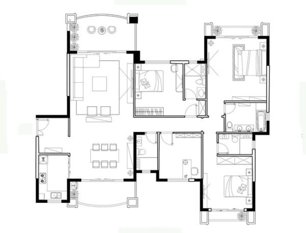 新古典四室居室户型图