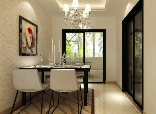 黑白色餐桌椅对比强烈,造型简单提升了空间利用率。