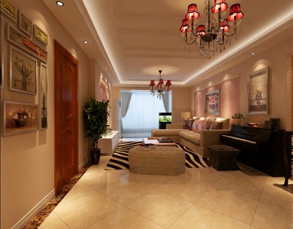 设计完后的客厅效果图