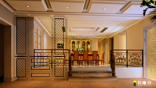 混搭风格餐厅:本案餐厅将中式风格与现代风格进行融合设计体现传统工艺之美和现代时尚之感。