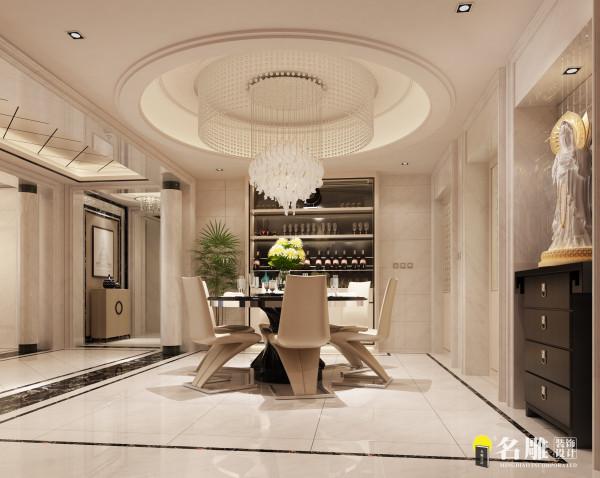 名雕装饰设计—千灯湖一号-餐厅:本案采用不锈钢、砖与中式大理石的材质,营造出简约而不简单地空间氛围。