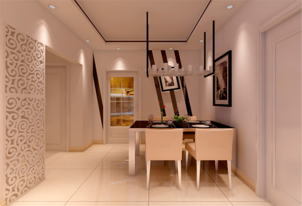 设计理念:餐区整体呈现出了悠然,轻松的感觉,餐桌,餐椅的选择与空间相互呼应,呈现出了雅致的感觉。