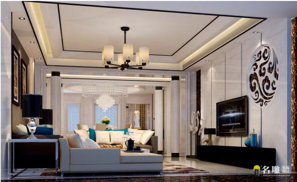 名雕装饰设计—千灯湖一号-客厅:电视背景选用大面积的白石,搭配中式的饰品,凸显空间的精致感。