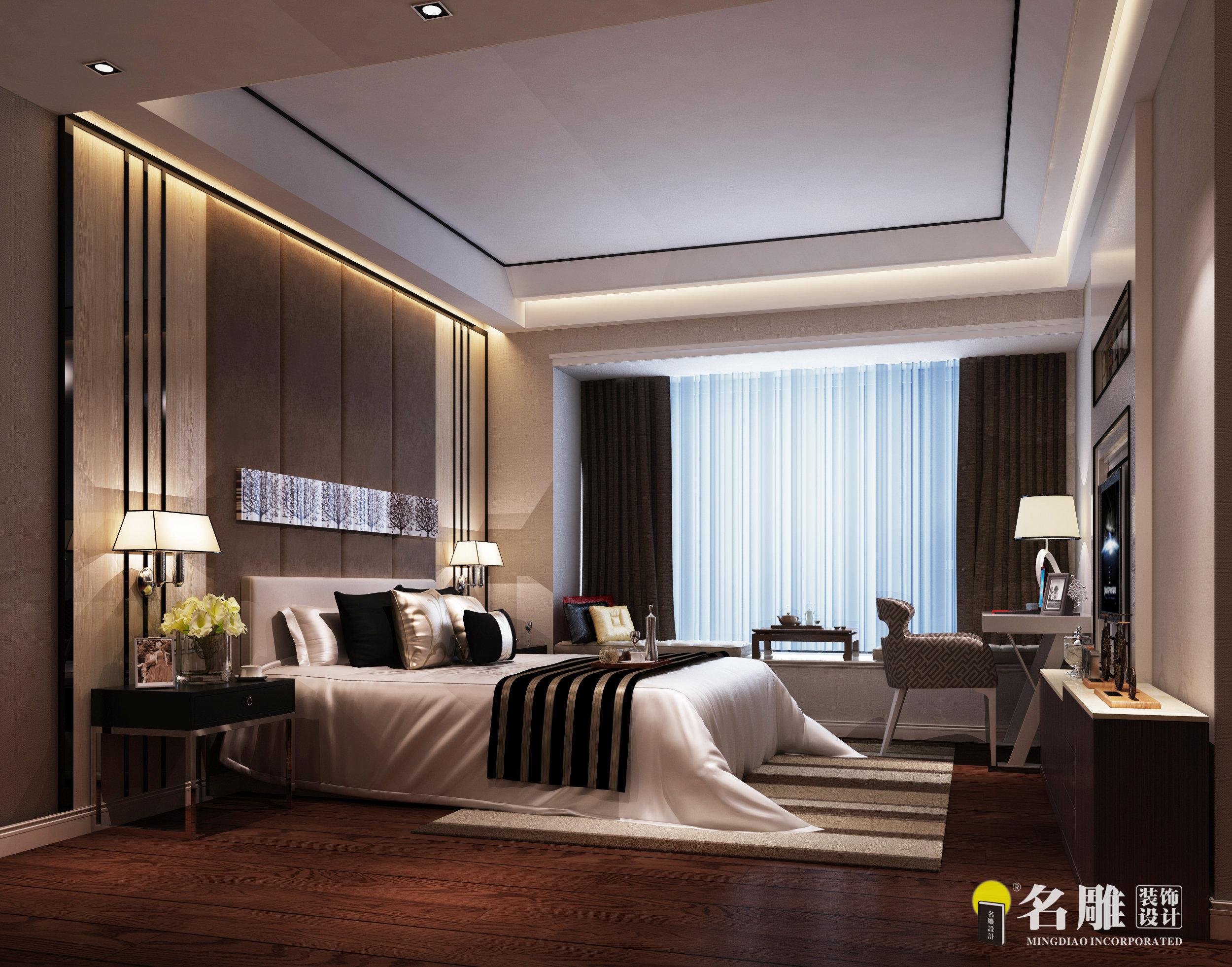 现代中式 四居 豪宅装饰 千灯湖一号 客厅 现代时尚 简约 卧室 卧室图