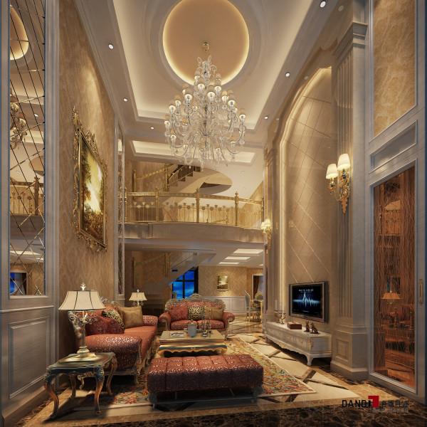 名雕丹迪别墅设计—熙龙湾顶层复式—欧式客厅:整个空间选用大理石、茶镜、硅藻泥等材质,利用不同的反光和反射特点,使得原本局限的视觉空间有了延伸。