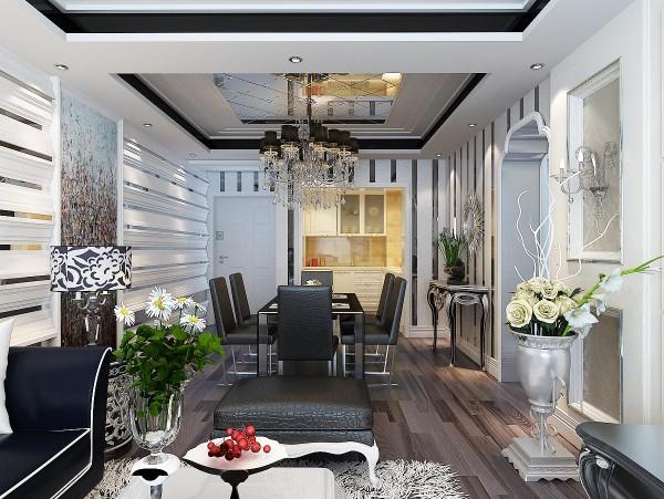 同客厅一样的背景,与客厅连体的餐厅,镜面吊顶使整个空间增加一股充盈的感觉,多层玻璃背景显得更有空间与层次感