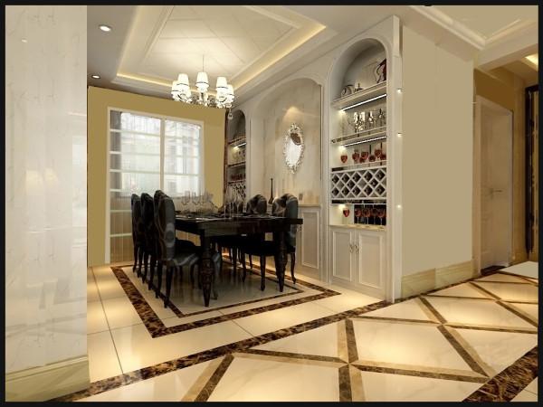 餐厅的吊顶采用原顶面石膏板拉逢,既划分了空间的区域又使顶面增加了层次感,更具有整体性。