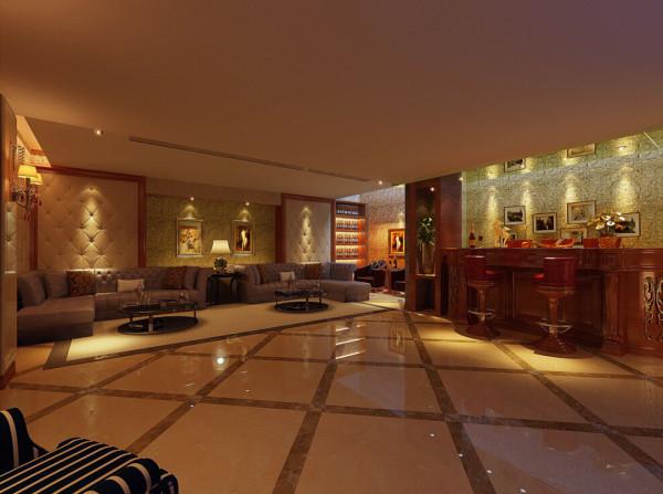 两层高的大厅,运用了中式的雕花作为墙面装饰。客厅与餐厅之间采用中式镂空木雕作为隔断,使得空间既分且合,富有情趣