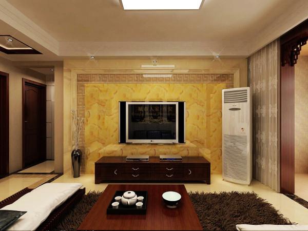 电视墙选用玉石砖拼花配上华丽的壁灯烘托豪华效果,主灯泛着淡淡的黄光,富有底蕴,温馨感油然而生,置身其中,舒适、温馨的感觉袭人,让那平日的工作压力的得到释放。