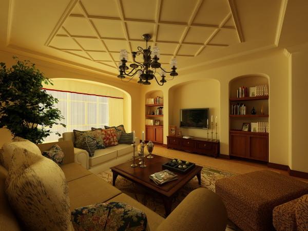 电视墙面运用欧式经典元素的壁炉与壁橱完美结合,拱形垭口避免以往的直线而呆板的弊端,使客厅空间错落有致,层次明确,更有棉麻质感的布艺沙发与大型绿植相衬,使空间充满恬静的乡土气息。