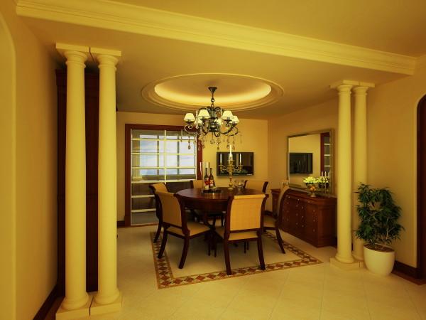 两边的欧式经典罗马柱不但将餐厅与其他空间完美分割,而且增添了餐厅的贵族气质和整体视觉的空间阔张,圆形吊顶与地面可称为天圆地方。