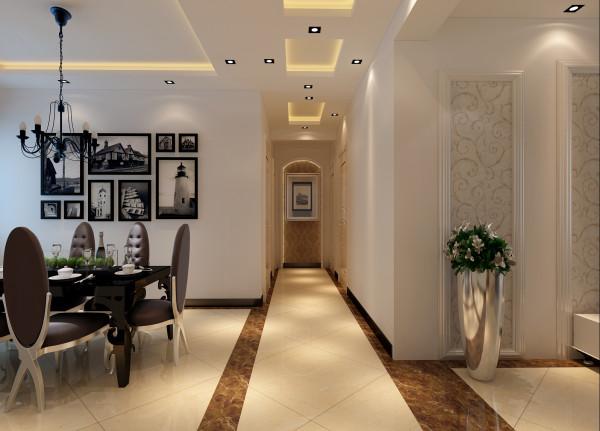 万科蓝山-简约欧式风格-128平米三居室装修-走廊装修效果图