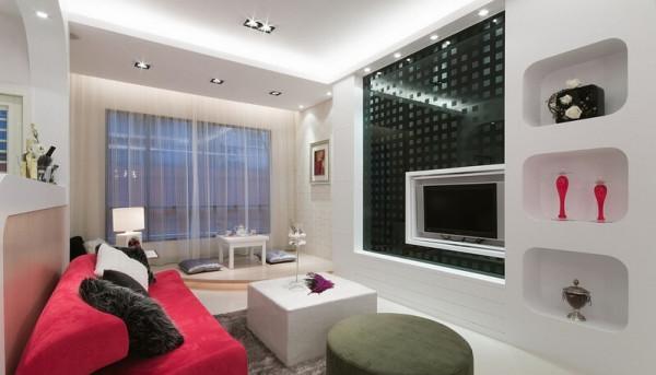 因为坪数不大,所以希望在色彩及格局上营造出放大空间的效果,比沙列室内设计张静峰总监以普普风为主题,再用黑、白、红的配色点缀出年轻时尚感,呈现都会女性梦想的居家空间。