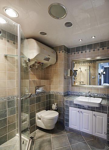 简洁大方的仿古地砖搭配洁白的陶瓷卫浴