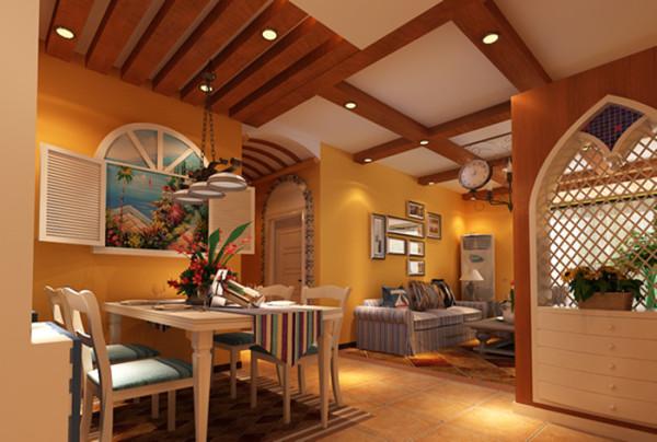 餐桌采用奶白色调,与吊灯相结合,使餐厅现代感十足,墙上的壁画起到了画龙点睛的作用,仿佛能感受到一阵阵夹杂着鲜花芳香的海风吹来。