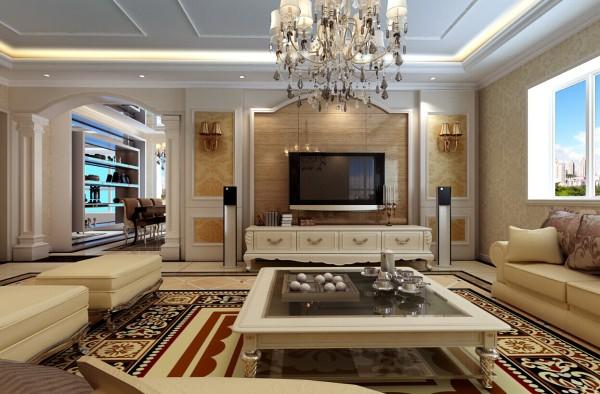米色壁纸和欧式特色的沙发,与地面铺设的图案画式地毯相得益彰,无不显示出业主的尊贵及高品位。