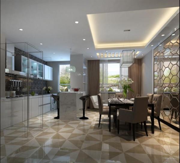 厨房和餐厅之间做了一个石英石台面的吧台设计,显得非常有个性。顶面的吊顶设计,也使两个空间功能区分的很明确、协调。