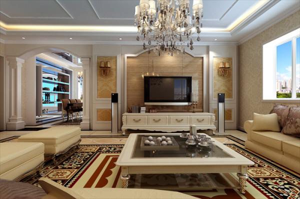 客厅电视墙采用石材与壁纸做搭配,餐厅的门用欧式立柱拱门,显得非常大气,显示出主人的尊贵身份