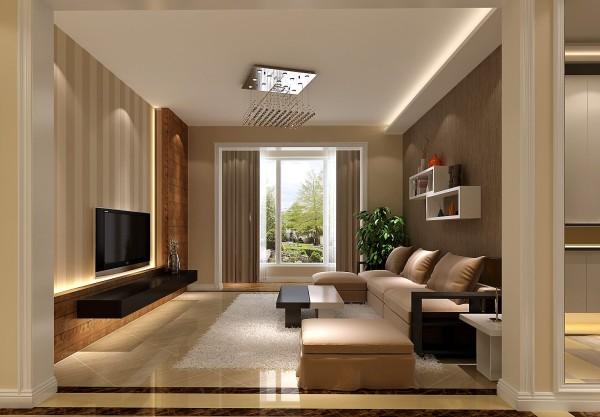 客厅使用少量的条文壁纸与暖色墙漆相结合,整个空间呈现出典雅、休闲、舒适的氛围。
