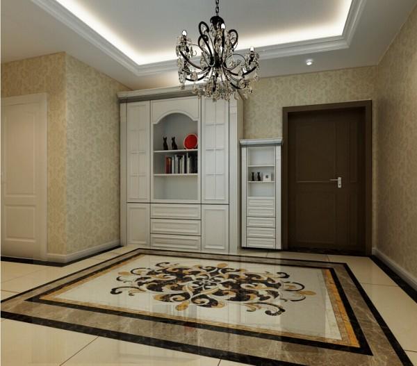开门进入眼帘的就是大气的典雅贵气的欧式拼花地砖,与水晶灯上下呼应.通顶高低鞋柜的设计,不仅增加了使用空间,也更具有美观性。