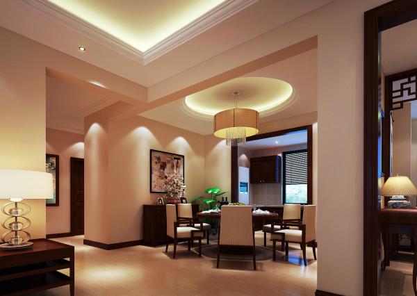 设计理念:餐厅的桌椅也是用红木家具来做搭配,最为特点的是圆形的桌面,和圆形的吊顶交相辉映,使整个空间看起来非常的有感觉。