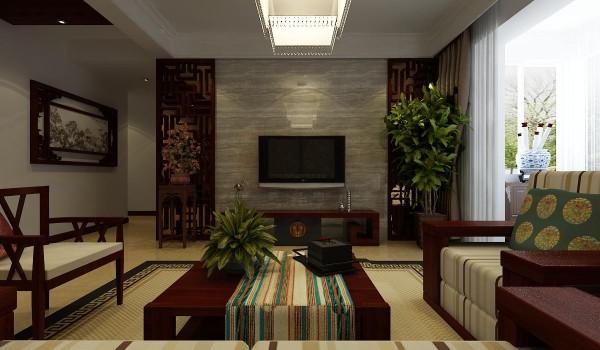 电视背景墙则运用的是隔断与大理石相结合,更加大气。