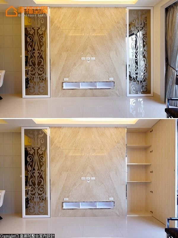 帝诺大理石和茶镜构成和谐温润的画面,精致的图腾门片内,更隐藏实用的收纳空间。