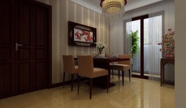 餐厅以暖色调的条纹壁纸作为背景,一副简单的枫叶挂画图,为业主营造出温馨祥和的就餐环境。
