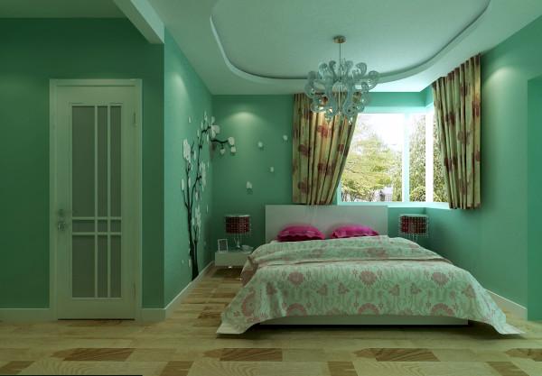 卧室格局应女主人需求,绿色田园风格更显卧室的恬静、舒适,让人在卧室内得到心境的放松。