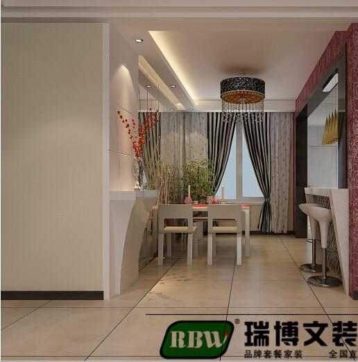 ,餐厅形象墙采用白色混油与镜面相结合,从视觉上延伸餐厅空间,厨房做开放式设计,垭口处做吧台,
