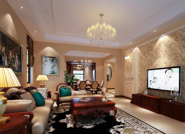 设计理念:客厅的设计和餐厅融为一体,浅色的地砖和壁纸相呼应 ,家具整体以深色系为主,拱形的垭口设计让整个空间更温馨大气,不显呆板。