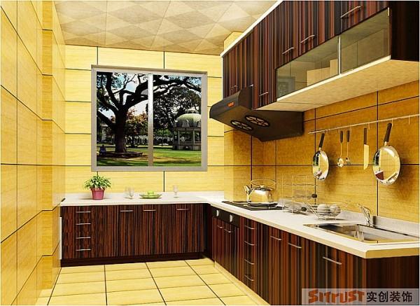 合理运用具有视觉冲击效果的橱柜,使厨房更显活力,更加时尚。 墙面和地面的地砖整体铺设,和谐统一。