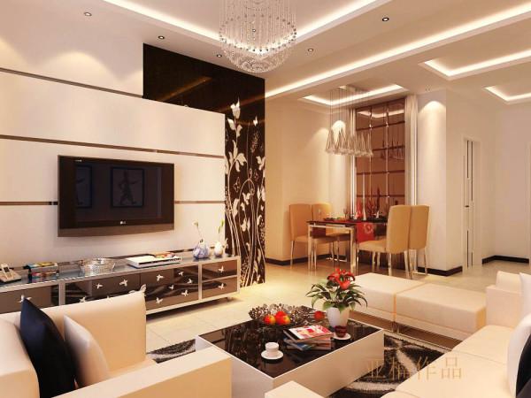 客厅的设计最大化的满足了空间的需求,大面积的采用了镜面效果材料,金属线条与艺术玻璃的完美结合,现代感十足,顶面搭配水晶吊灯,更显高贵典雅,现代与艺术的结合,彰显业主不拘一格的品味。