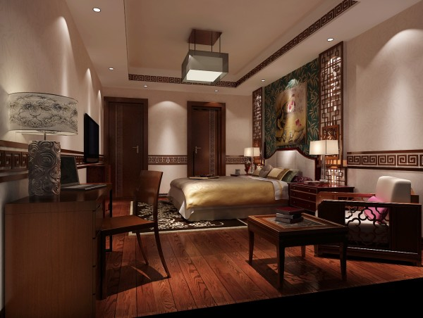 书房是这家主人比较重视的地方,书房以中式为主,并兼顾客房的功能,实用且简单书桌,适合主人处理相关工作和读书