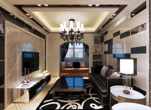 电视背景墙采用石膏板搂槽工艺,中间用壁纸填充,既简单又不失低俗,壁纸颜色及花色也比较灵活,客户选择性较广。石膏板搂槽横向排列,对整个电视背景墙都具有延伸作用。