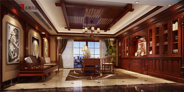 名雕丹迪别墅设计—半岛一号别墅—混搭风格—书房
